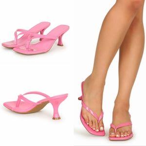 NEW Anne Michelle Square Toe Kitten Heel Flip Flop
